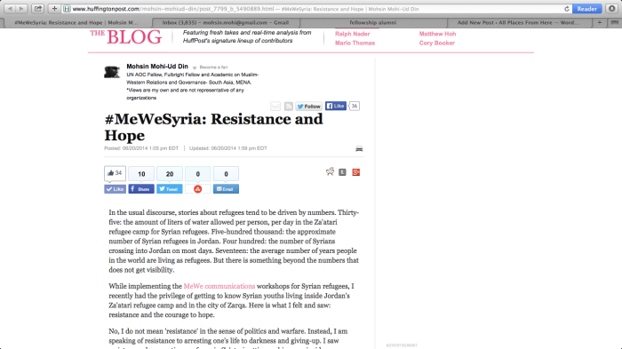 Huffington Post article on #MeWeSyria final outcomes